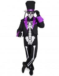 Dia de los Muertos Skelett-Gentleman mit Zylinder Halloween-Herrenkostüm schwarz-weiss-lila