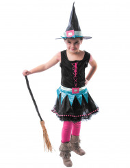 Bunte Hexe Halloween Kostüm für Kinder pink-weiss-schwarz