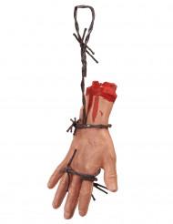 Abgehackte Leichenhand mit Stacheldraht Halloween-Deko hautfarben-grau