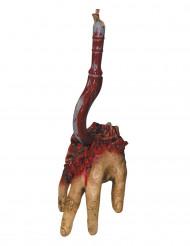 Abgetrennte Hand am Haken Halloween-Partydeko hautfarbe-rot-silber