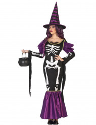 Sexy Skelett-Hexe Halloween Kostüm für Damen lila-schwarz-weiss