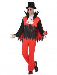Blutiger Vampirgraf Halloween Kostüm für Männer rot-schwarz-weiss