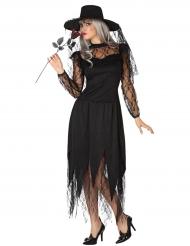 Verführerische Gothic-Hexe Halloween Kostüm für Damen schwarz