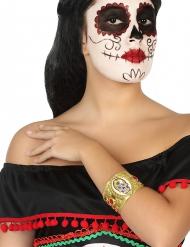 Dia de los Muertos Armband mit Totenschädel Halloween-Schmuck gold-bunt