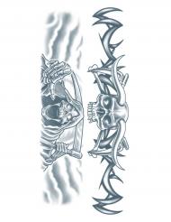 Tattoärmel Sensenmann und Tribal-Totenschädel Halloween-Accessoire grau
