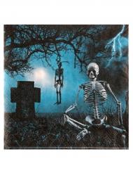 Servietten mit Skelett und Friedhof Halloween-Partydeko
