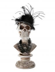 Skelett-Gentleman mit Melone Büste Halloween-Partydeko beige-grau-schwarz