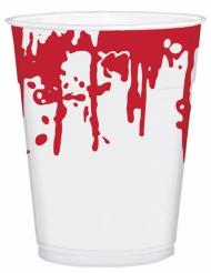 Blutige Partybecher Halloween-Tischdeko 25 Stück weiss-rot 200ml