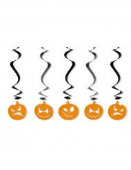 Kürbis-Hängespiralen Halloween-Partydeko 5 Stück orange-schwarz 60cm