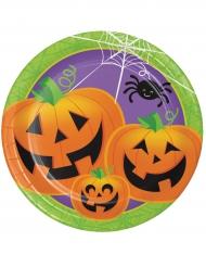 Halloween-Partyteller Lachende Kürbisse Halloween-Tischdeko 8 Stück bunt 23cm