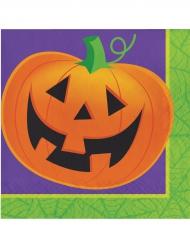 Lachender Kürbis Halloween-Servietten Kinderhalloween-Deko 16 Stück orange-lila-grün 33x33cm
