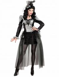 Burlesque-Vampirin Halloween Kostüm für Damen schwarz-grau