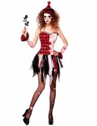 Böse Harlekin-Dame Halloweenkostüm für Frauen schwarz-rot-weiss