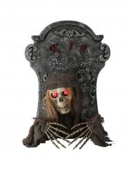 Animierter Zombie-Grabstein mit Licht und Sound Halloween-Partydeko grau-beige 60cm