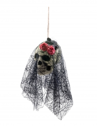 Tag der Toten Schädel zum Aufhängen weiß-schwarz-rosa