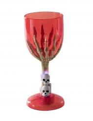 Leuchtender Halloween-Kelch Skeletthand rot