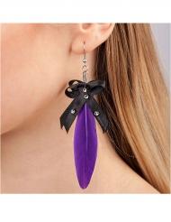 Gothic-Ohrringe Feder-Ohrringe 2 Stück schwarz-lila 10cm