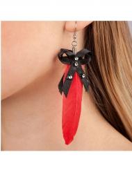 Halloween Ohrringe mit Feder und Schleife rot-schwarz