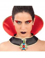 Vampirin Halsband mit Stehkragen Halloween-Schmuck schwarz-gold-rot