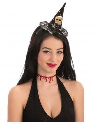 Totenkopf-Minihut Halloween-Haarreif schwarz-weiss-gold