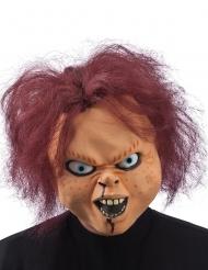 Schaurige Horrorpuppe Halloween-Maske mit Haaren hautfarbe-rot