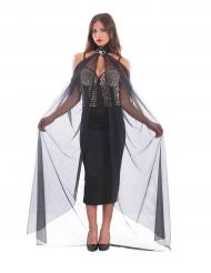 Transparenter Halloween-Umhang mit Halsband Kostüm-Accessoire schwarz