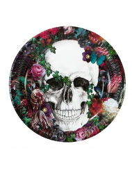 Dia de los Muertos Pappteller mit Totenschädel und Blumen Halloween-Tischdeko 8 Stück bunt 23cm