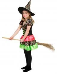 Fröhliche Hexe Halloween Kostüm für Kinder schwarz-bunt