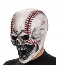 Verfluchter Baseball-Schädel Halloweenmaske weiss-rot