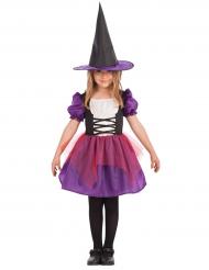 Märchenhaftes Hexen-Kinderkostüm lila-schwarz-weiss
