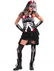 Tag der Toten Halloween-Damenkostüm schwarz-rot-weiss