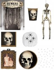 Skelett Deko-Set für Halloween 9-teilig bunt