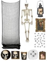 Skelett-Schloss Halloween Partydeko-Set 10-teilig schwarz-weiss