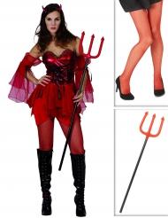 Sexy Teufelin Kostüm-Set mit Dreizack und Strumpfhose 3-teilig rot-schwar