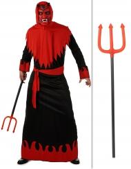 Böser Teufel Halloween Kostüm-Set mit Dreizack 2-teilig rot-schwarz