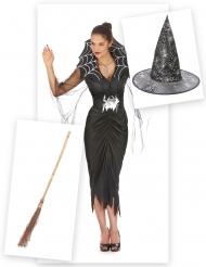 Hexen-Damenkostüm mit Spinnenmuster schwarz-silber