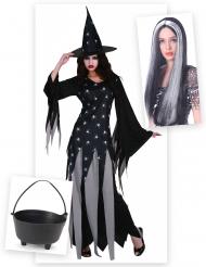 Hexe Kostüm-Set für Halloween mit Kessel und Perücke 3-teilig schwarz-grau