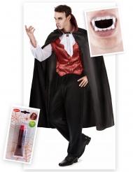 Graf Dracula Halloween Kostüm-Set für Herren 3-teilig rot-schwarz