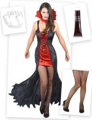 Vampirin Verkleidungs-Set für Halloween 4-teilig bunt