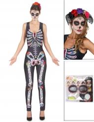 Dia de los Muertos Halloween Kostüm-Set für Damen 3-teilig bunt