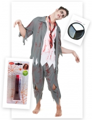 Zombie Kostüm-Set für Halloween 3-teilig grau-weiss