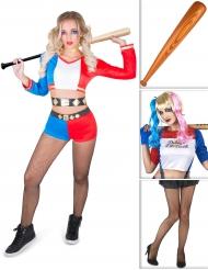 Sexy Harlekin Kostüm-Set für Damen 4-teilig bunt