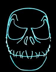 Neon-Halloweenmaske Leuchtmaske mit genähtem Mund blau
