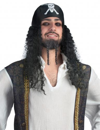 Piraten-Perücke mit Bandana schwarz