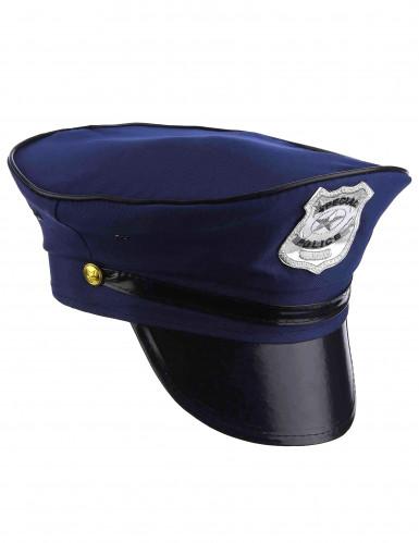 Polizei-Mütze für Erwachsene Halloween-Accessoire blau