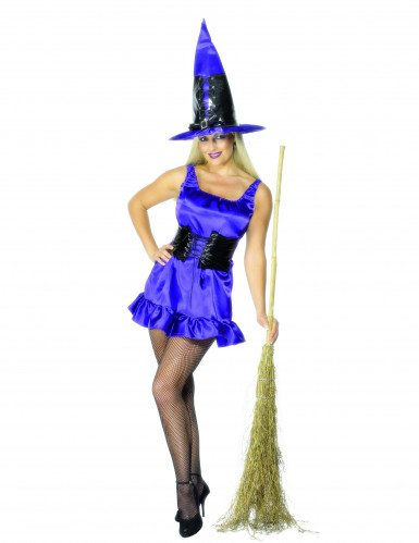 Sexy Hexe Halloween-Damenkostüm Zauberin blau-schwarz