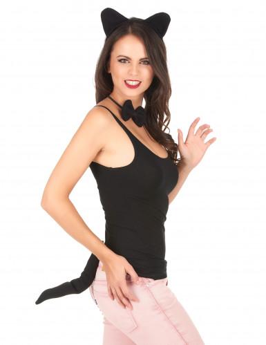 Katzen-Accessoireset für Erwachsene 3-teilig Halloween-Accessoire schwarz