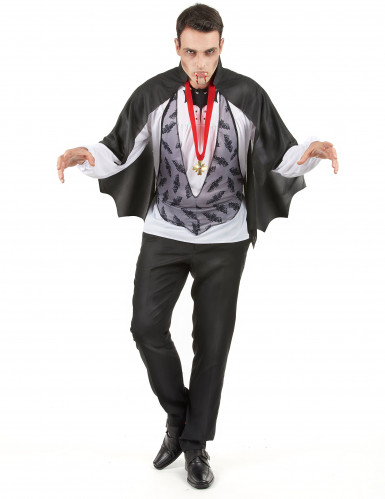 Vampir Halloween-Kostüm Dracula schwarz-grau-rot