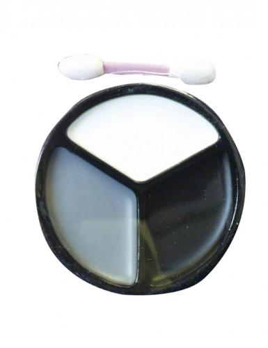 Schminkpalette Halloween Make-Up Zubehör 4-teilig schwarz-weiss-grau