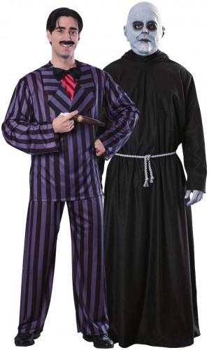 Addams Family™ Halloween-Paarkostüm Gomez und Onkel Fester lila-schwarz-grau
